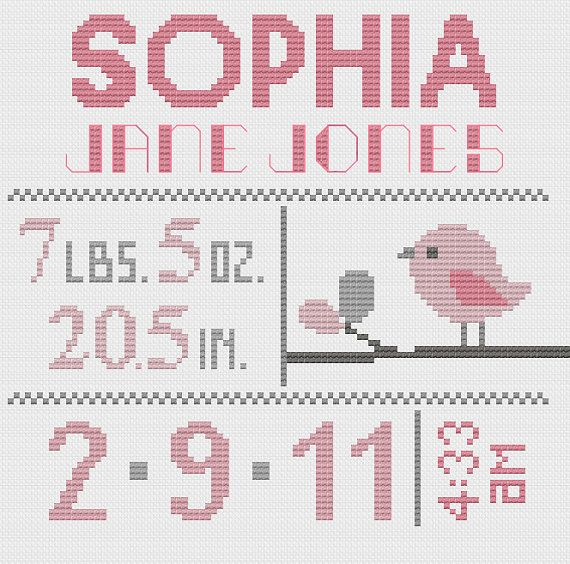 Customized Cross Stitch for Baby - Pattern - Birds