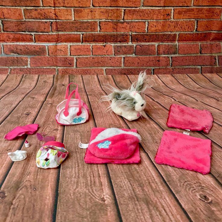 Zhu Zhu Pets Bundle Electric Cute Dog Pet Basket 2 Blankets Cushions Carry Bag +