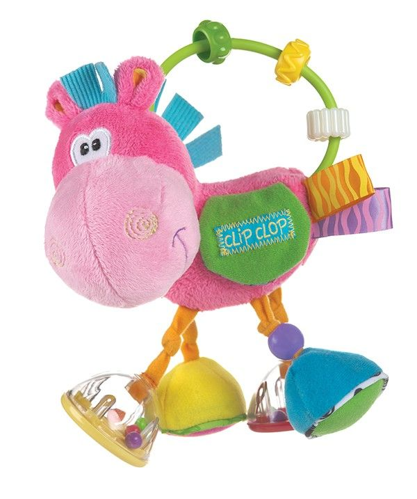 Clopette Activity Rattle- The infamous Clip Clop has been transformed into Clopette, our pink story. Clopette is filled with lots of fun activities including rattles, click-clack beads, peek-a-boo saddle, crinkle features and loads more! This item is sure to entertain baby for hours and stimulate their fine motor skills and auditory system.