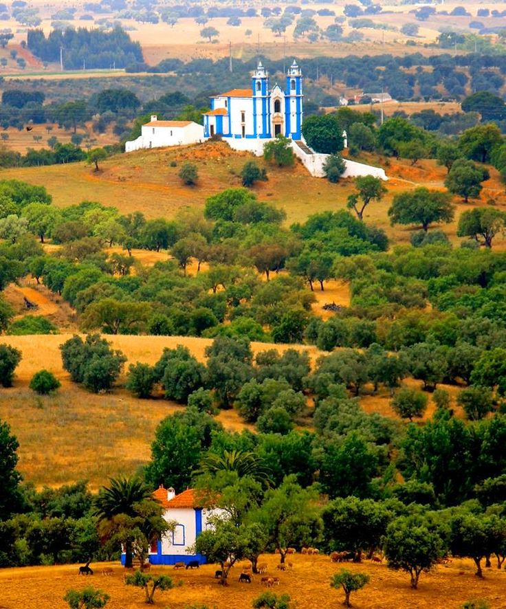 Typical church on the top of the ill Messejana, Alentejo, Portugal