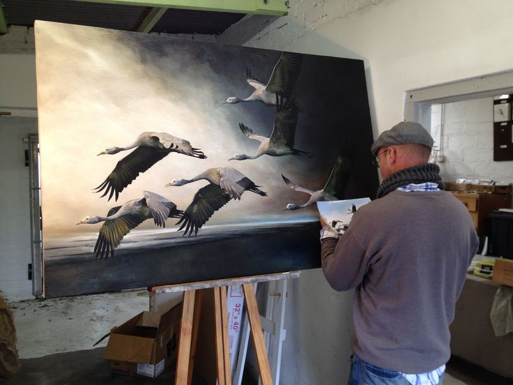 Blue Cranes - Into the Light. Process of a painting i am still busy with.