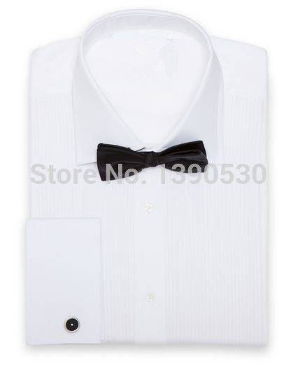 >> Click to Buy << 100% cotton pure white wide spread collar with french cuff and pleated front men's made to measure shirts #Affiliate