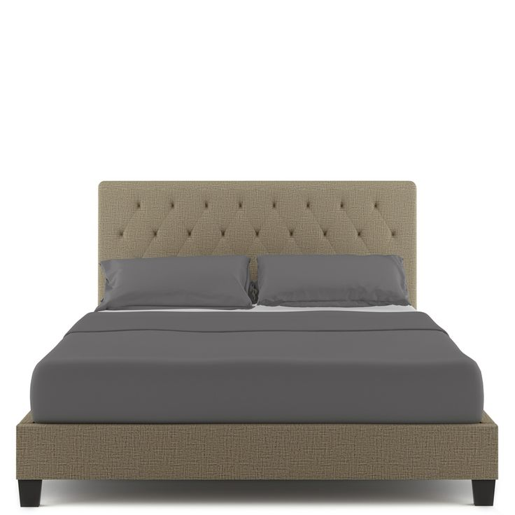 Buy Helmi Fabric Upholstered Double Bed Frame - Sand Online Australia