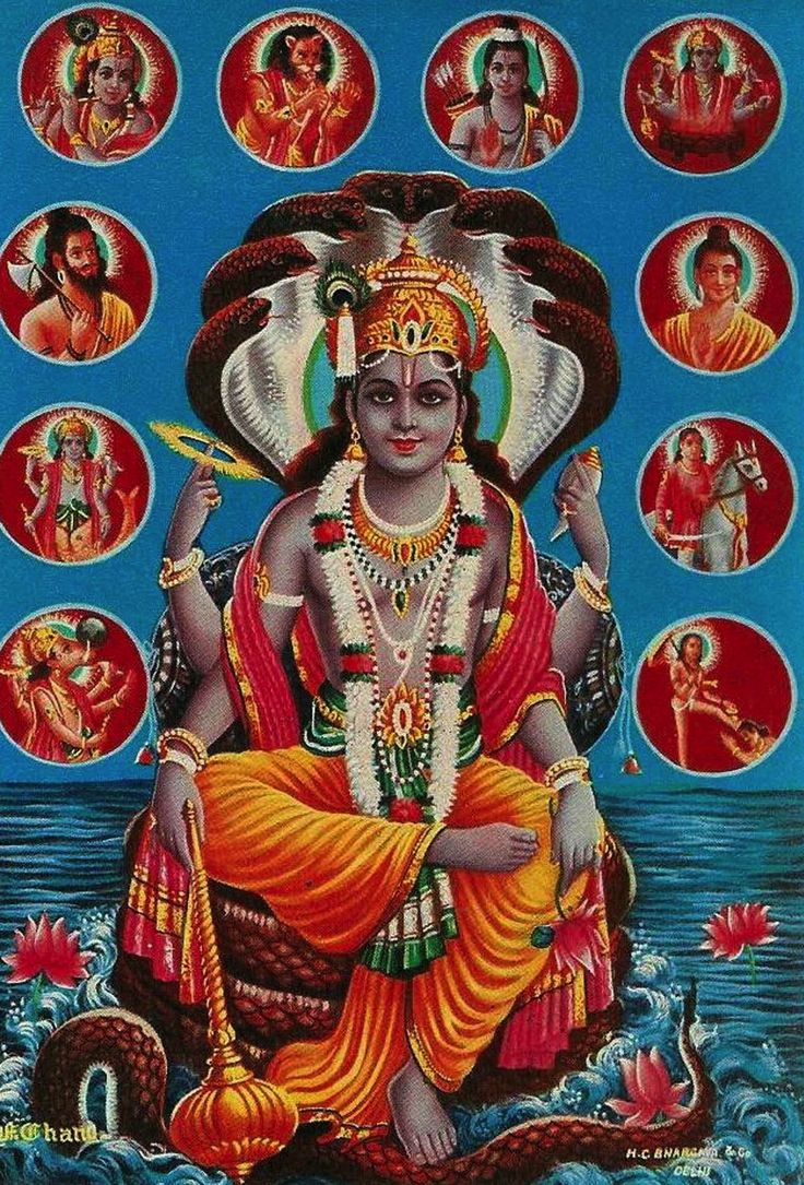 Lord Vishnu with the Ten Avatars