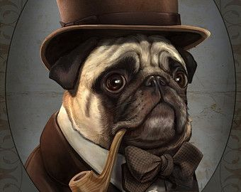 Disfrazados de Sr. Farnsworth Pug caballero victoriano Steampunk Top Hat pipa Original ilustración retrato Poster Print - 4 tamaños disponibles