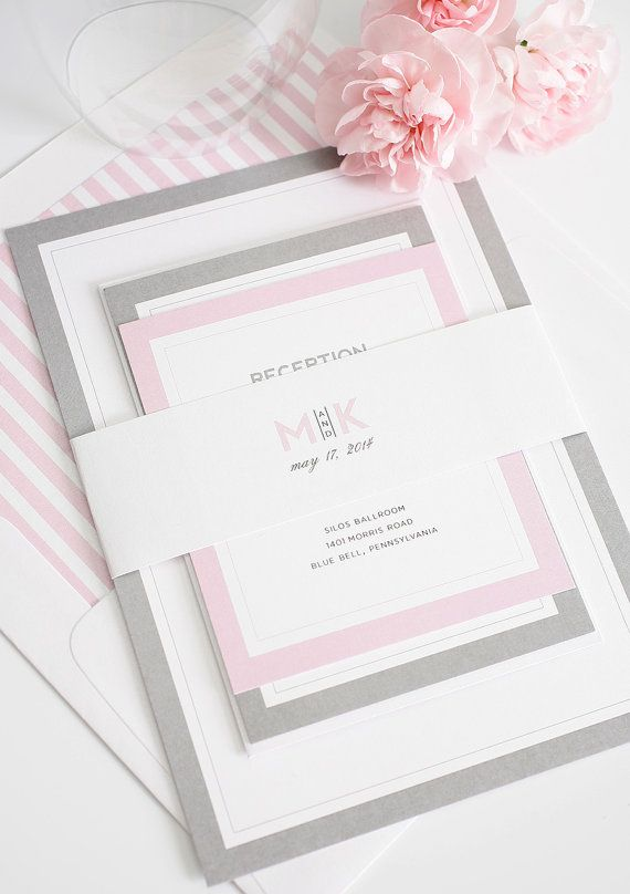 Gray and Pink Wedding Invitation - Unique, Romantic Wedding Invites - Modern Initials Wedding Invitations