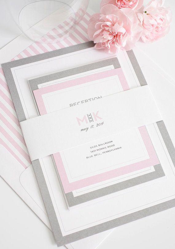 Gray and Pink Wedding Invitation - Unique, Romantic Wedding Invites - Modern Initials Wedding Invitations
