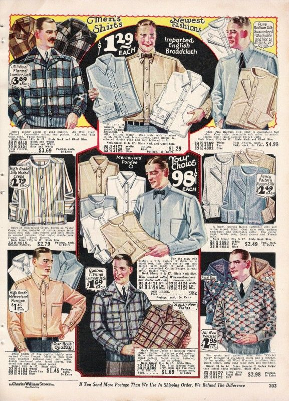 1927 mens shirts - both attached collars and band collars for separate white collars (hard or soft)