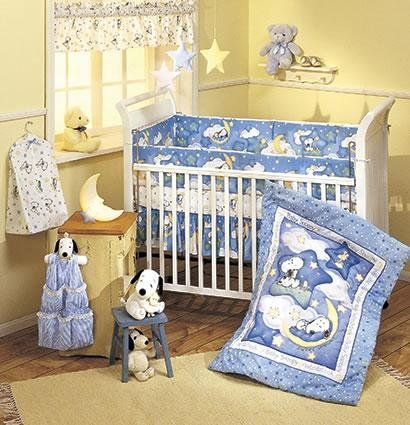 Lambs Ivy Sleepytime Baby Snoopy 4 Piece Crib Bedding Set