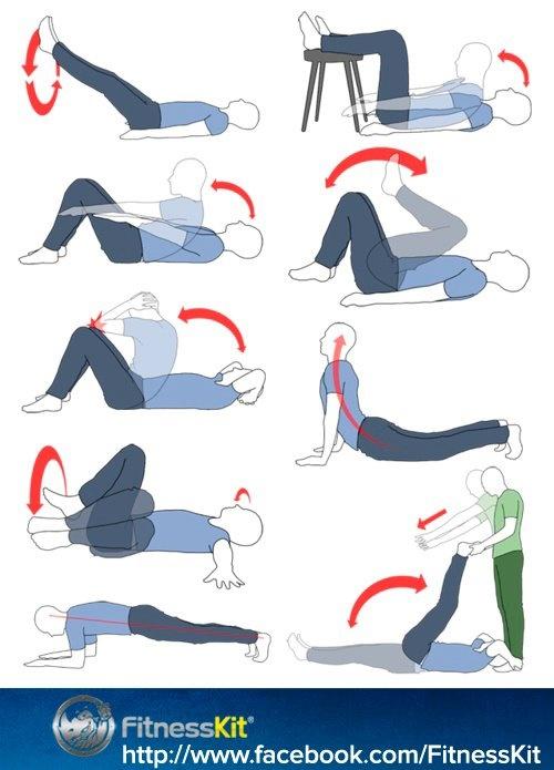 Aquí os dejamos una serie de #ejercicios de la zona #abdominal y lumbar que se pueden hacer en casa sin necesidad de tener que acudir a un #gimnasio.