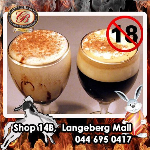 Friday fun at Cattle Baron Mossel Bay. What is your favorite drink after a meal? A Don Pedro or a Liqueur Coffee? Come on let us know. Remember Alcohol not served to persons under 18. #steakhouse #fridayfun #afterdinnerdrinks