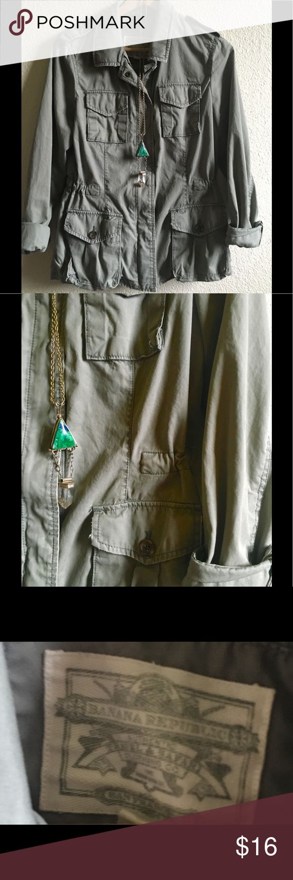 Green banana republic jacket M Great condition no buttons or zippers missing. Very cute and lightweight. Ready for summer. Banana Republic Jackets & Coats