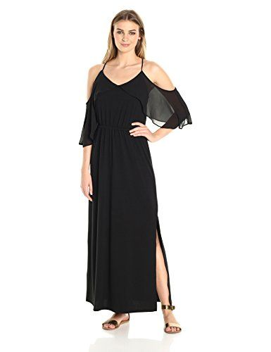 7a45666b484 NY Collection Women s SLD Spaghetti Strap Halter Maxi Dress W Cold Shouder