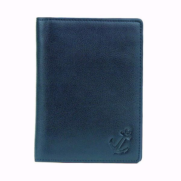 """The first elegant, practical and refined passport holder designed for gentlemen. This passport wallet holds up to two passports, a pen, credit cards, room keys, money, airline tickets and more, all while keeping them perfectly organized! Equipped with RFID blocking capabilities, our passport case will shield you from scammers while you're abroad. Lightweight and thin, yet excellent quality and craftsmanship. 5.9'' x 0.5 """" x 4.3"""" dimensions. Comes in a beautiful navy colored gift box."""