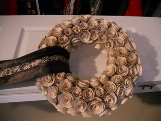 DIY old book rose wreath