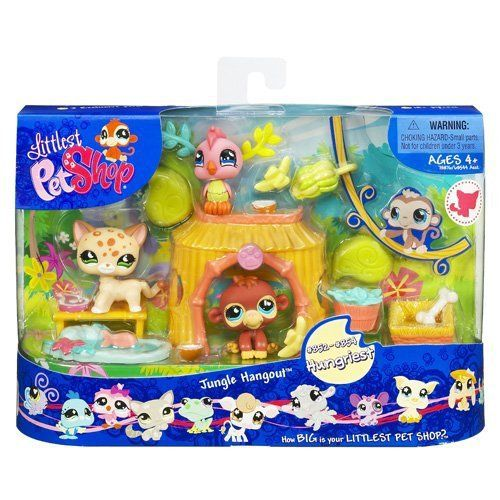 New LPS Littlest Pet Shop JUNGLE HANGOUT Pets Play Set Retired Hasbro Bobble Head Toys
