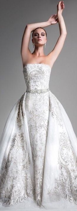 Ysa Makino spectacular wedding gown,  diamond white with sparkling silver appliques and belt. Enjoy RUSHWORLD boards, WEDDING GOWN HOUND, UNPREDICTABLE WOMEN HAUTE COUTURE and LULU'S FUNHOUSE. Follow RUSHWORLD! We're on the hunt for everything you'll love!