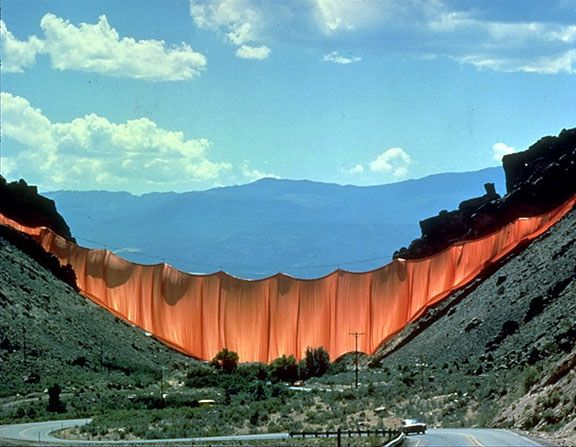 Christo and Jeanne Claude's Valley Curtain project. A 400-meter-long cloth was to be stretched across Rifle Gap, a valley in the Rocky Mountains near Rifle, Colorado. The project required 14,000 m2 of cloth to be hung on four steel cables, fastened with iron bars fixed in concrete on each slope, and 200 tons of concrete. On 10 August 1972, the second attempt to hang the cloth succeeded, but only 28 hours later it was destroyed by a storm gale in excess of 60 miles per hour.