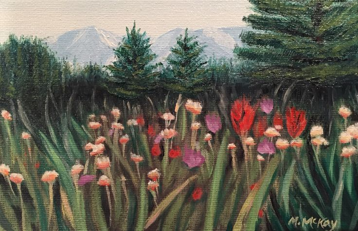 Mountain Wildflowers, original oil painting for sale by artist Maureen McKay