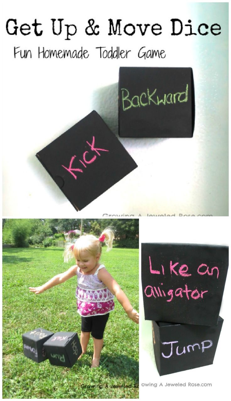 Homemade Toddler Game- Get Up & Move Dice. This fun game is easy to make and promotes exercise and creative movement.