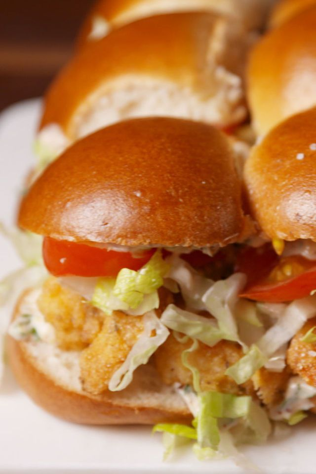 Shrimp Po' Boy Sliders Are Better Than Mardis Gras In The Big Easy  - Delish.com #seafoodrecipes