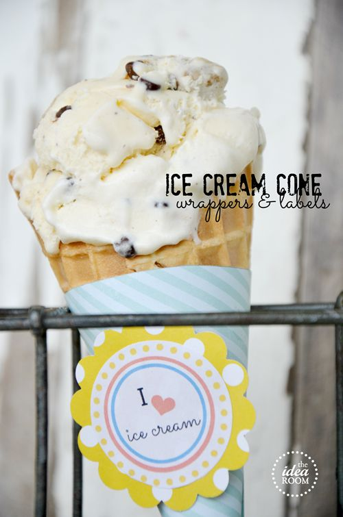 Summer-party: Free Summer, Summer Party, Party Idea, Summer Birthday Party, Summer Ice Cream, Summer Printables, Cones Wrappers, Free Printables, Ice Cream Cones