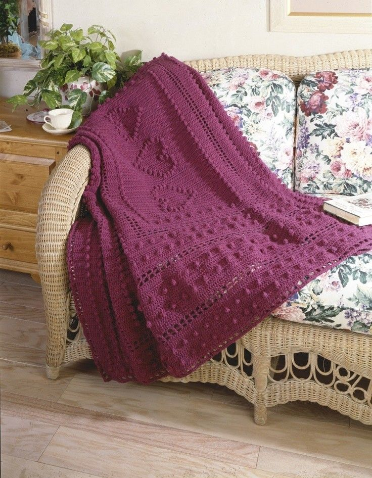 Knitting Pattern For Bobble Blanket : DIY Crochet Bobble Heart Blanket Free Knitting Pattern - Lap Blanket, Rattan ...