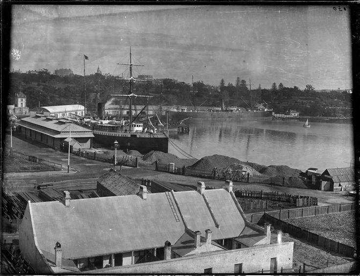 Woolloomooloo Bay, with the 'Gulf of Guinea' steamship in the background