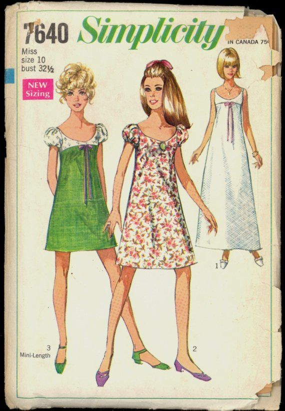 ac9edfe6f96ff Uncut 60s Size 10 Bust 32.5 Empire Waist Evening Dress Simplicity 7640  Vintage Sewing Pattern 1960s