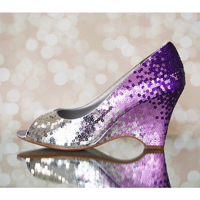 Here's a really dressed up pair of wedding wedges, featuring an ombré design of hand placed sequins in silver and shades of purple. #wedgeweddingshoes #sequinweddingshoes