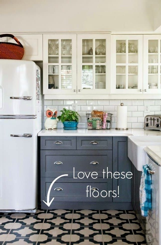 Got cheap-looking or dingy vinyl floors? Paint them to look like expensive tile.