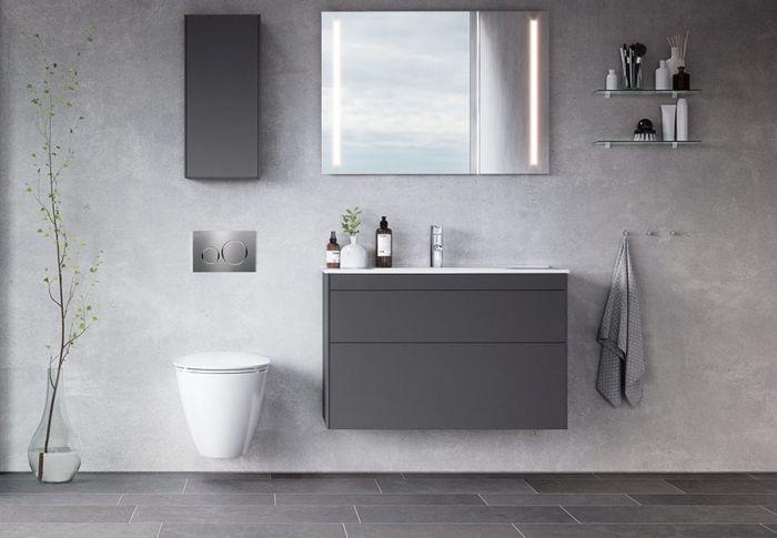 salle de bain grise carrelage gris clair