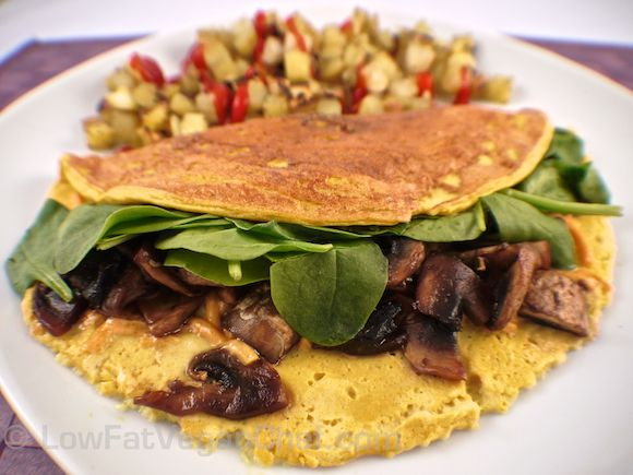 The BEST Silken Tofu Omelette Recipe with Spinach and Mushrooms