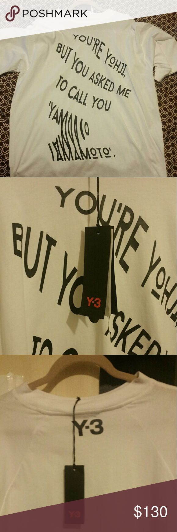 Y-3 T-SHIRT WITH WRITING BUYERS BE AWARE ALL MY STUFF IS DISCOUNTED BETTER PRICES THEN THE ONES IN THE STORES. I GO DIRECTLY TO SELLERS AND HAND PICK WHAT IS HOT AND WILL ALWAYS STAY HOT. SO SERIOUS BUYERS ONLY!!!!!!! YOU WON'T BE DISAPPOINTED IN MY ITEMS ALL IS REAL I TAKE PRIDE. Brand new #allmystuffislegit #comecorrectorjustkeepontrucking #instorespricetagexpensive #inmyclosetaffordable #nothingfakebutthedummyyouseeonprofilelol #letsshopandgetadealbettertheninthestores…