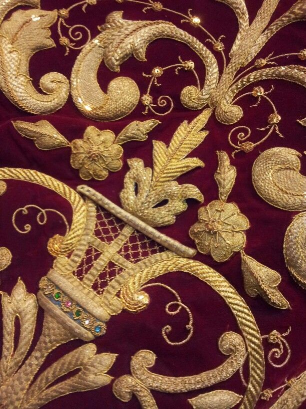 Gold thread on lush velvet
