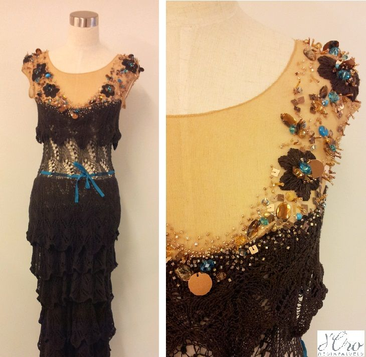 KV Couture, fashion designer Kristina Viirpalu #brown #knitted #dress #lace #details #embroidery