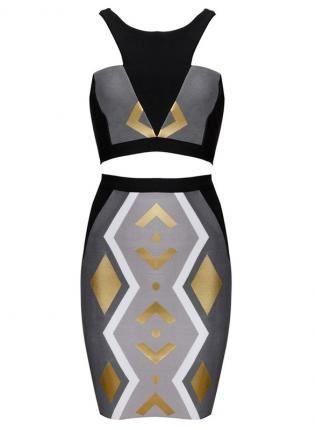 TALIAGREY & GOLD TRIBAL BODYCON 2 PIECE,  Dress, Bandage Bodycon Women Evening, Chic