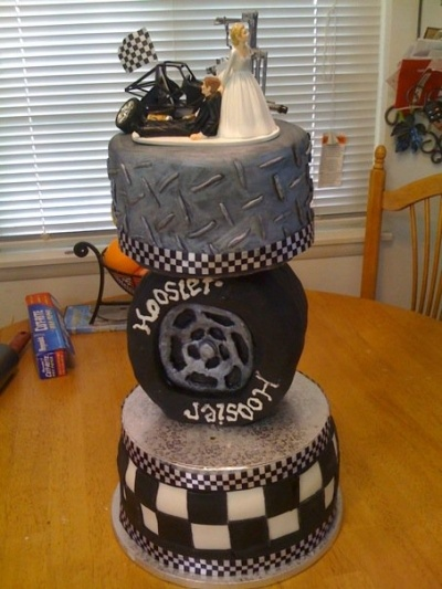 Race Car Driver Wedding Cake Topper