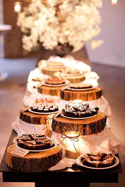 Great idea! Place the desserts on cut out pieces of wood to add that rustic or country theme.