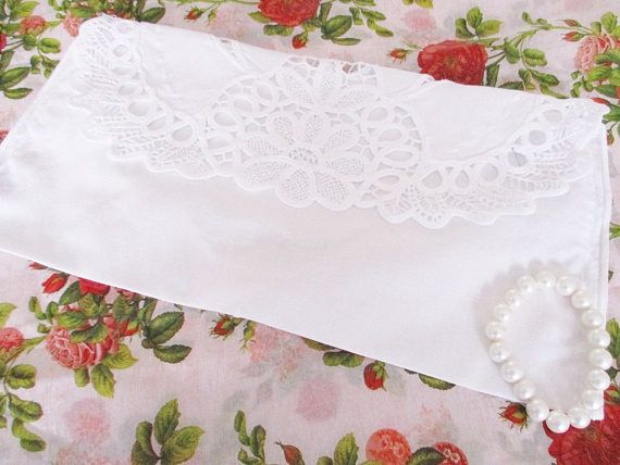 Vintage white lace cotton storage bag cutwork lace bag for