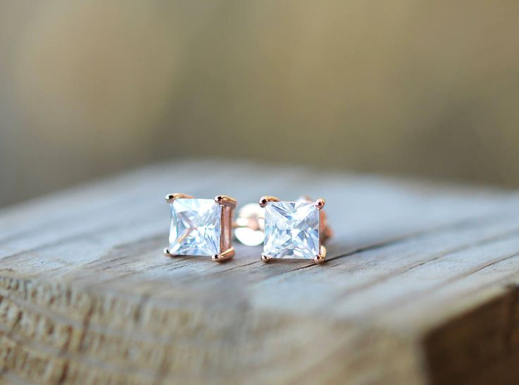 Rose Gold Diamond Earrings 18k Rose Gold Stud Earrings Sterling Silver Stud Earrings Rose Gold Earrings Princess Cut Earrings Square Studs by SilverNorthStudio on Etsy (null)
