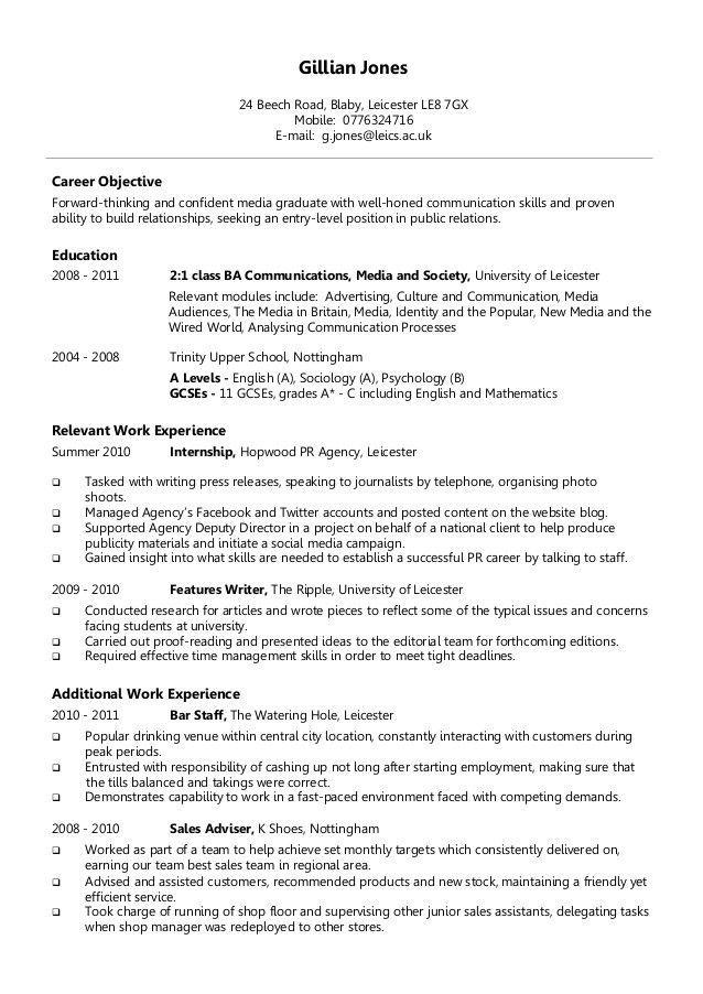 Inspiring Entry Level Cv Template Uk Idea Di 2020