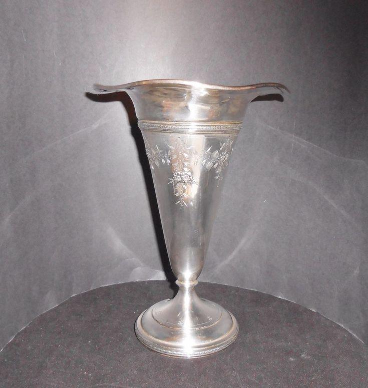 """Sterling Silver Trumpet Vase Vintage Watson Silver Co 10"""" Wavy Fleur de Lis  #Watson #Watson #SterlingSilverVases"""