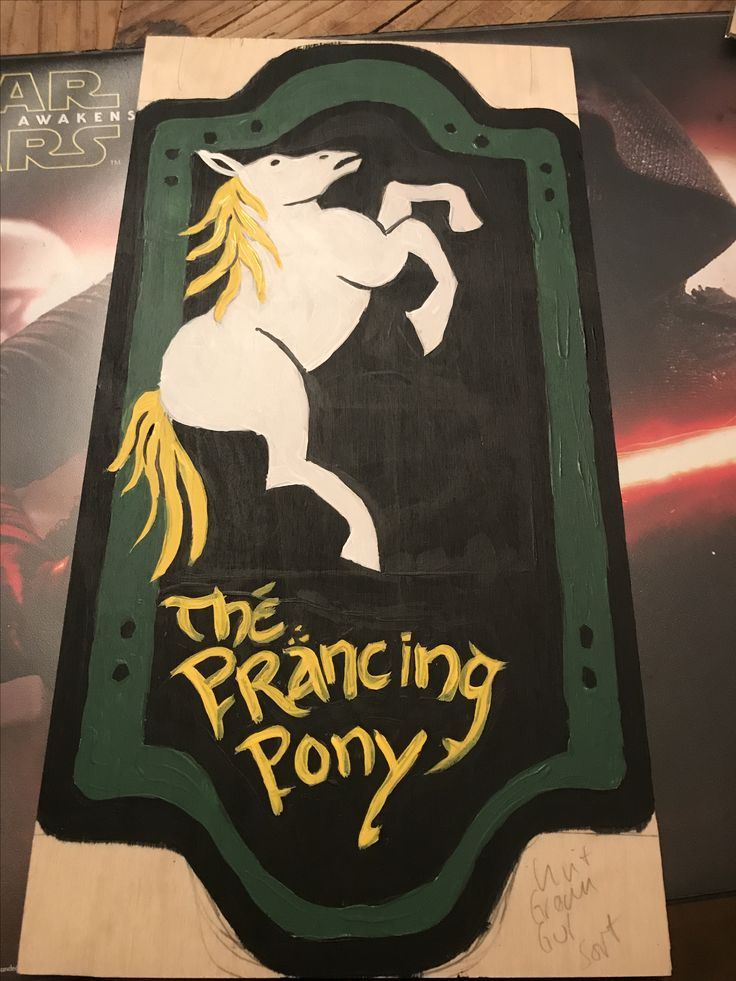 Prancing pony sign in the making