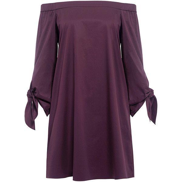 Tibi - SATIN POPLIN OFF-THE-SHOULDER MINI DRESS (€315) ❤ liked on Polyvore featuring dresses, purple mini dress, mini dress, satin mini dress, off shoulder long sleeve dress and off the shoulder dress