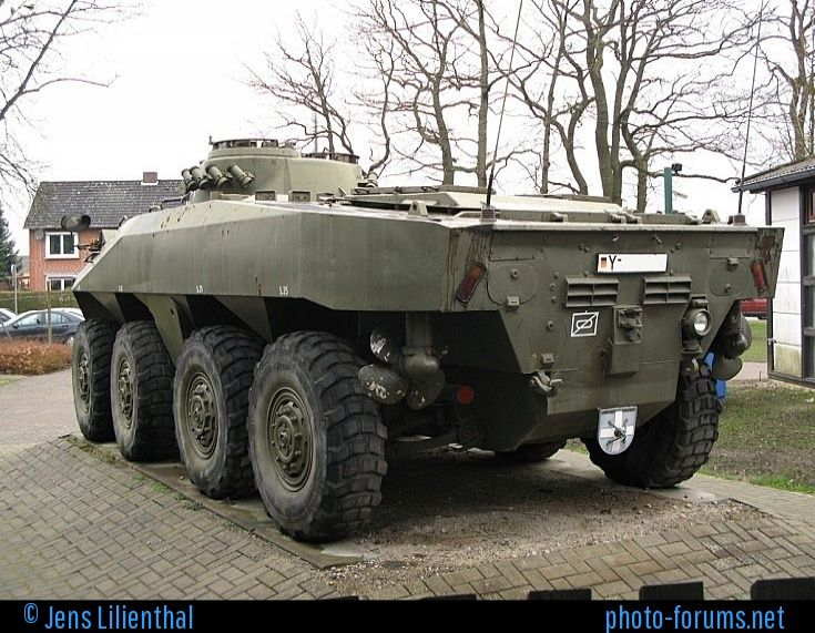 This is one of two prototypes that were developed in the 1960's, by two different manufacturers, with Daimler-Benz's prototype being selected and entered production with Rheinstahl Wehrtechnik now known as Rheinmetall Landsysteme, who delivered the first of 408 vehicles to the German Army in 1975 under the designation Spähpanzer Luchs (German for Lynx). Delivery completed in 1978. I dont't know which manufacturer produced this prototype.