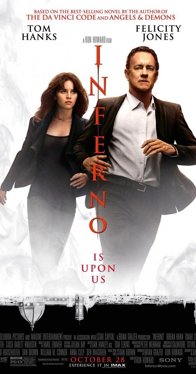 Directed by Ron Howard.  With Tom Hanks, Felicity Jones, Ben Foster, Omar Sy. When Robert Langdon wakes up in an Italian hospital with amnesia, he teams up with Dr. Sienna Brooks, and together they must race across Europe against the clock to foil a deadly global plot.