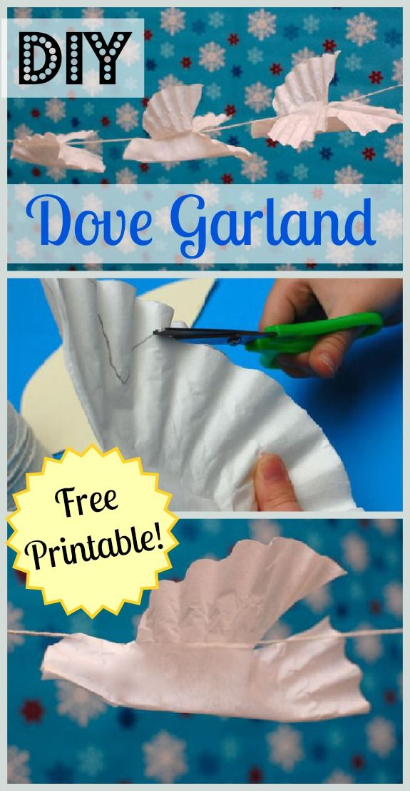 DIY Dove Garland w/ free printable (made with coffee filters) #kids #crafts #holidayCrafts #holidayDecor