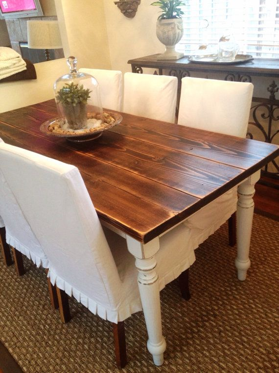Custom french farmhouse table for French farmhouse dining chairs