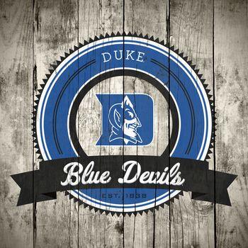 Duke Blue Devils Logo on Wood Canvas Picture at Duke Blue Devil Photos